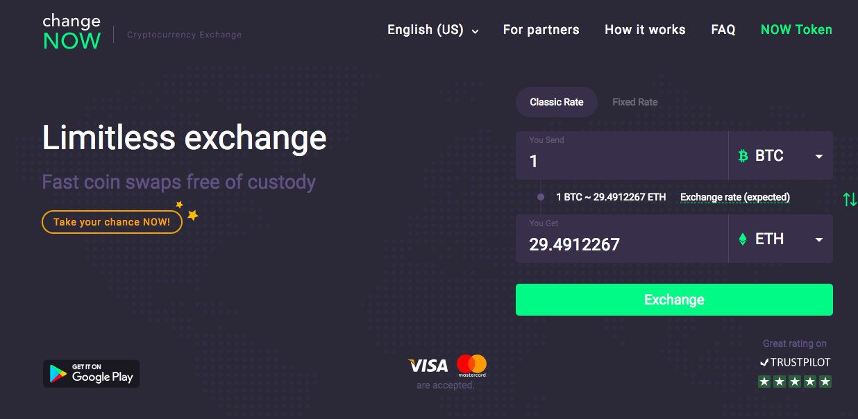 Changenow, best shapeshift alternative, instant exchange