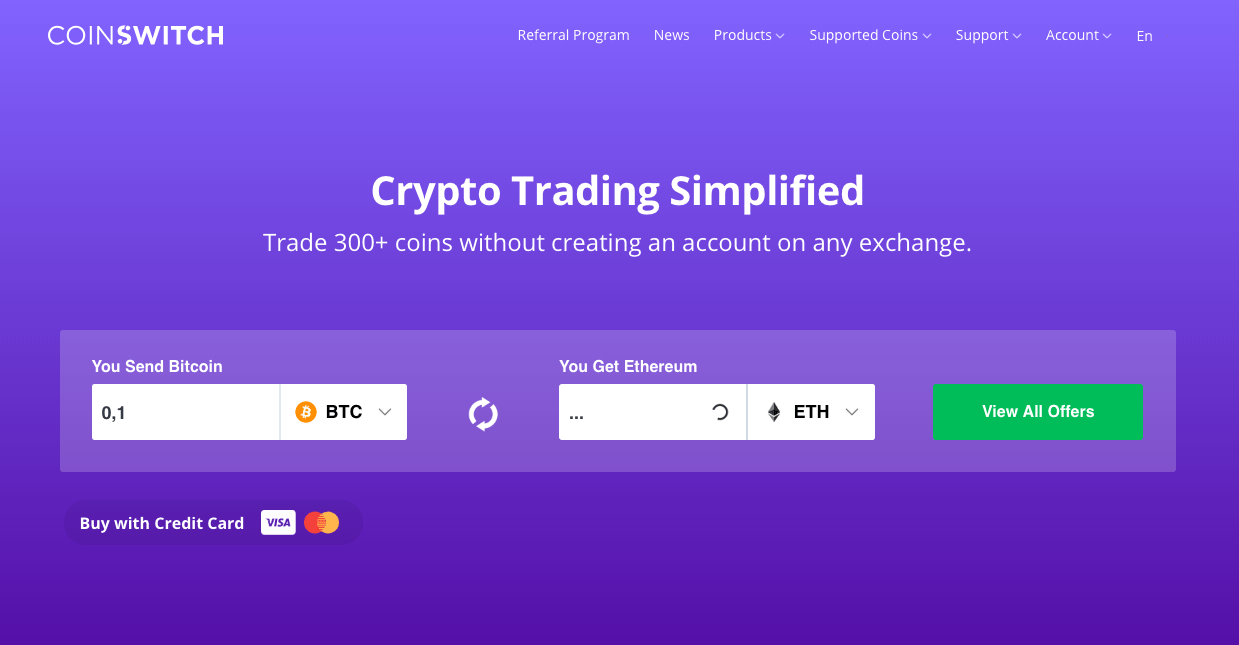 Coinswitch, instant exchange, Shapeshift alternative