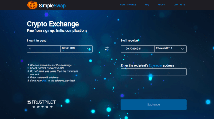 Simple swap, online exchange, instant exchange