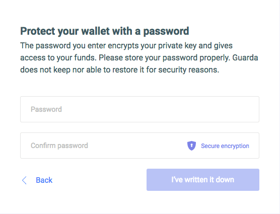 guarda wallet password