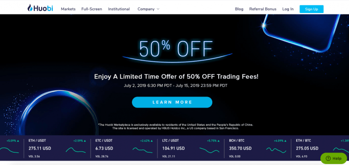 Huobi exchange platform